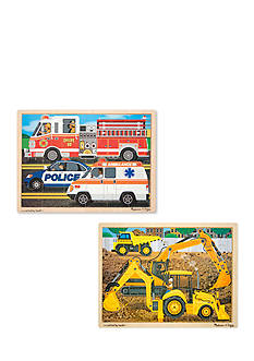 Melissa & Doug® 24 Piece Jigsaw Bundle- Construction & Rescue