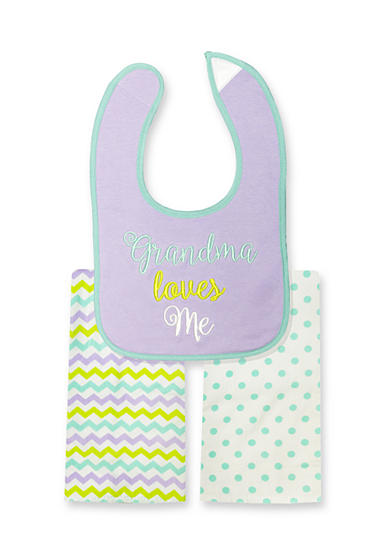 Nursery Rhyme® 3-Piece Grandma Loves Me Bib and Burp Cloths Set