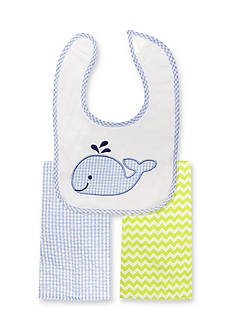 Nursery Rhyme® 3-Piece Whale Bib and Burp Cloths Set