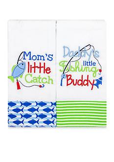 Nursery Rhyme 2-Piece Blue 'Mom's Catch' Burp Set