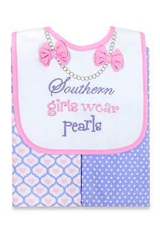 Nursery Rhyme 3-Piece Pink Southern Girl Bib and Burp Set