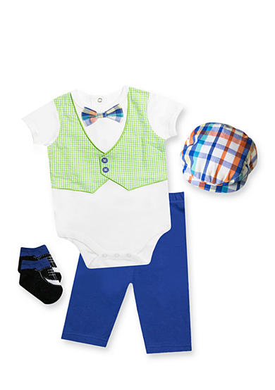 Nursery Rhyme® 4-Piece Bodysuit, Pant, Hat and Sock Gift Set