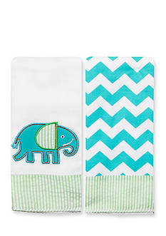 Nursery Rhyme® 2-Pack Elephant-and-Chevron Burp Cloths Set