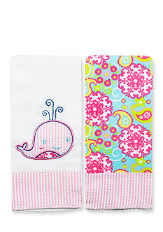Nursery Rhyme® 2-Pack Whale-and-Paisley Burp Cloths Set