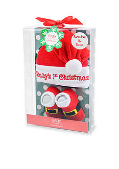 Nursery Rhyme Baby's First Christmas Santa Hat with Socks