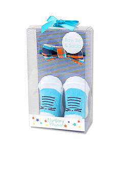 Nursery Rhyme Pre-Tied Turquoise and Orange Plaid Bow Tie and Sock Boxed Set