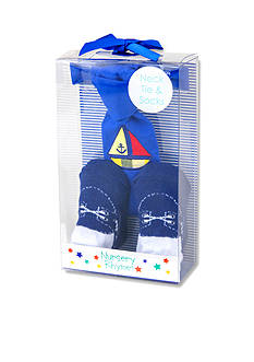 Nursery Rhyme Pre-Tied Blue Boat Bow Tie and Sock Boxed Set