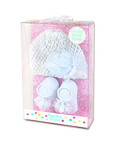 Nursery Rhyme 2-Piece White Crotchet Hat and Sock Boxed Set