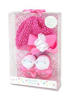 Nursery Rhyme 2-Piece Bow Crochet Hat & Socks Set