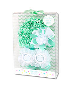 Nursery Rhyme 2-Piece Mint Crochet Hat and Sock Boxed Set
