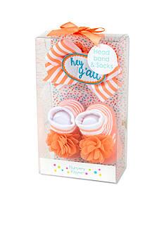 Nursery Rhyme Coral Hey Ya'll Headband and Sock Boxed Set