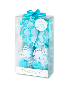 Nursery Rhyme 2-Piece Turquoise Geo Headband and Sock Boxed Set