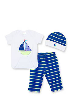 Nursery Rhyme 3-Piece Navy Sailboat Layette Boxed Set