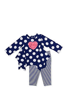 Nursery Rhyme® 2-Piece Heart Shirt and Striped Leggings Set