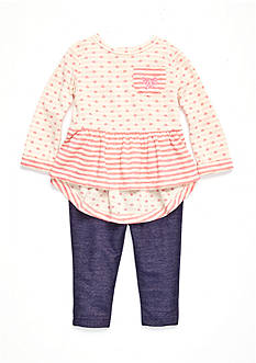 Nursery Rhyme Infant Girls 2-Piece Top and Denim Legging Set