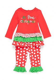 Nursery Rhyme 2-Piece Christmas Ruffle Shirt and Legging Set