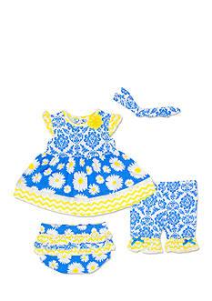 Nursery Rhyme 4-Piece Daisy, Dress, Bloomer, Headband, and Legging Set