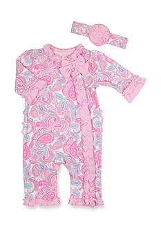 Nursery Rhyme® 2-Piece Paisley Print Coveralls and Headband Set