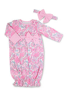 Nursery Rhyme® 2-Piece Paisley Print Gown and Headband Set