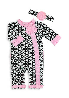 Nursery Rhyme® 2-Piece Floral Print Ruffle Coveralls and Headband Set