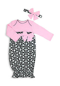 Nursery Rhyme 2-Piece Floral Print Gown and Headband Set