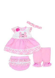 Nursery Rhyme 4-Piece Crab Dress, Bloomer, Headband, and Legging Set