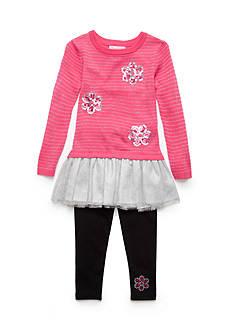 Flapdoodles Lurex Stripe & Daisy Sweater Dress Set Toddler Girls