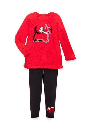Flapdoodles Scotty Dog Sherpa Tunic Set Toddler Girls