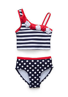 Flapdoodles 2-Piece Nautical One Shoulder Tankini Toddler Girls