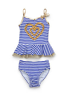 Flapdoodles 2-Piece Heart & Stripe Tankini Toddler Girls