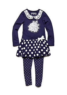Flapdoodles Rose and Dot Dress Set Toddler Girls