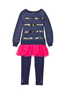 Flapdoodles Sequin Stripe French Terry Dress Set Toddler Girls