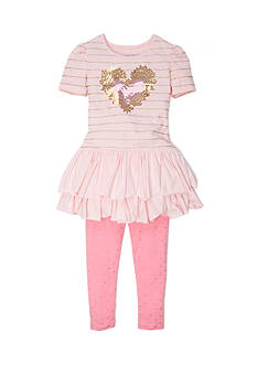Flapdoodles Heart Sparkle Dress Set Toddler Girls