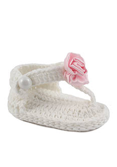 Nursery Rhyme® White Crochet T-Strap Thong Sandal with Flower Olay