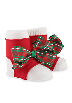 Nursery Rhyme Holiday Plaid Bow Booties