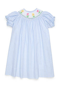 Marmellata Smocked Gingham Flower Dress Toddler Girls