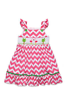 Marmellata Flamingo Smocked Chevron Dress Toddler Girls