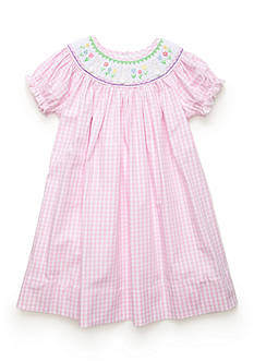 Marmellata Girls Pink Bunny Smock Dress