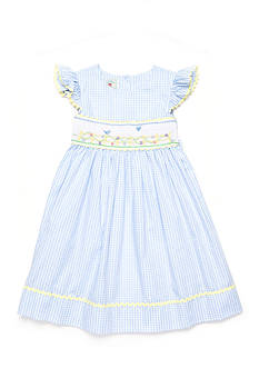 Marmellata Blue Bird Smock Dress Toddler Girls