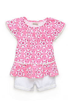 Lucky Brand 2-Piece Geo Peasant Top and Short Set Toddler Girls