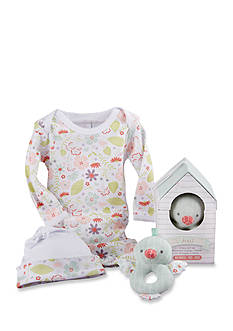 Baby Aspen™ Home Tweet Home Three-Piece Gift Set Layette, Cap And Rattle In Birdhouse