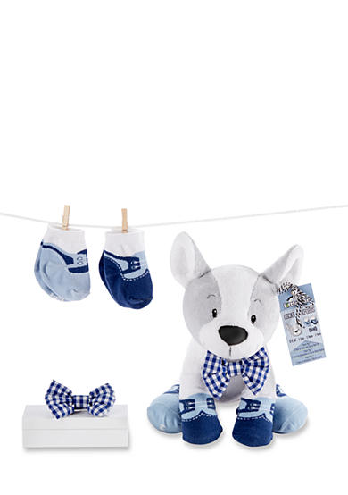 Baby Aspen™ Oscar In His Oxfords Plush Plus Puppy With Clip On Bow Tie And Two Pairs Of Socks