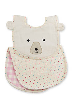Baby Aspen™ Happy Camper Pink Plaid Bib and Burp Gift Set
