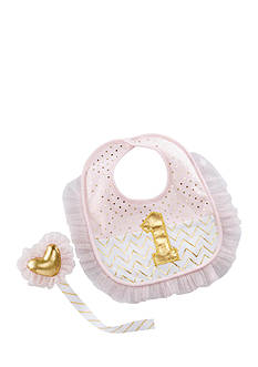 Baby Aspen™ My First Birthday Pink and Gold Pacifier Clip and Bib Gift Set