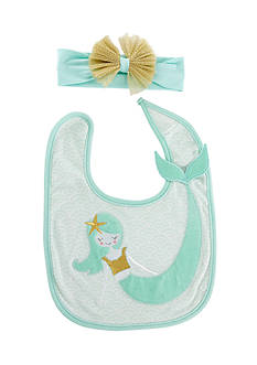 Baby Aspen™ Simply Enchanted Mermaid Bib and Headband Set