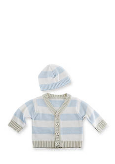 Baby Aspen™ Blue Stripe Cardigan And Cap Set