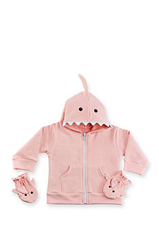 Baby Aspen™ Pink Shark Happy Hoodie and Mittens Set