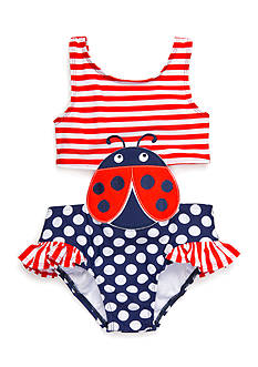 Nursery Rhyme Play™ Dots-and-Stripes Ladybug Swimsuit