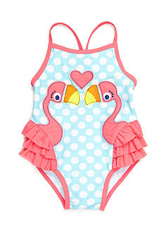 Nursery Rhyme Play™ Flamingos-and-Dots Swimsuit