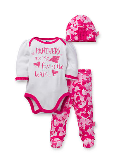 NFL ® Carolina Panthers Girls 3-Piece Bodysuit, Footed Pant and Cap Set